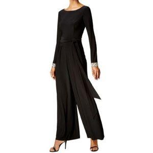 Vince Camuto Womens Embellished Wide-Leg Jumpsuit